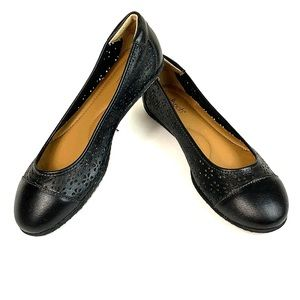 Softspots cushioned laser cut leather ballet flats